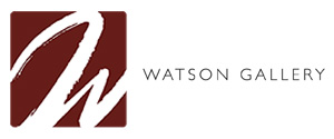 Dark red logo with letter W for art gallery Watson in Edinburgh